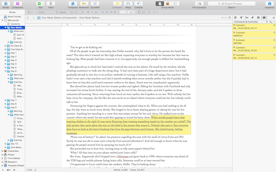 A screenshot of What Happens in New York in Scrivener.