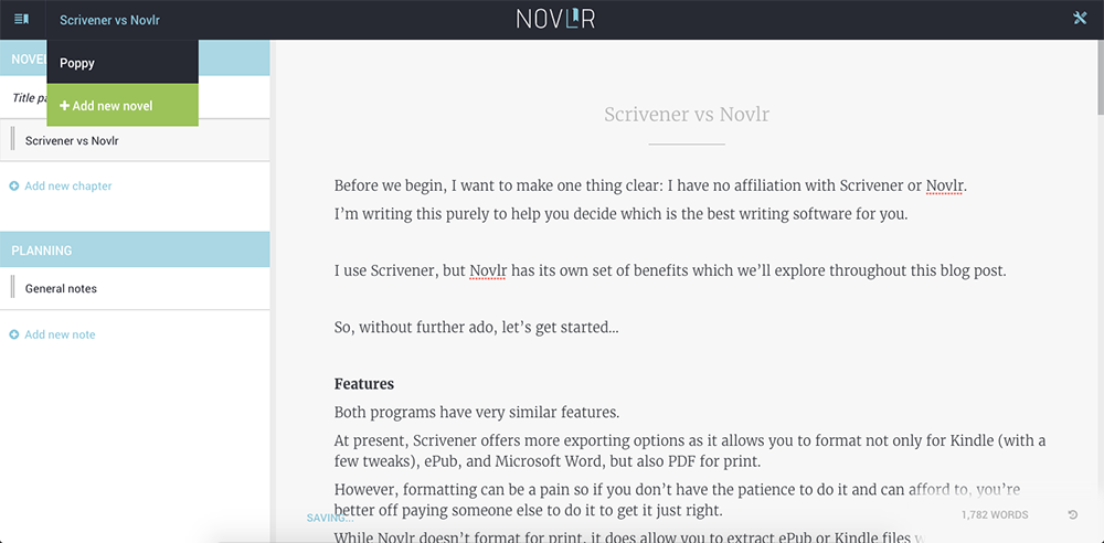The writing interface of Novlr.