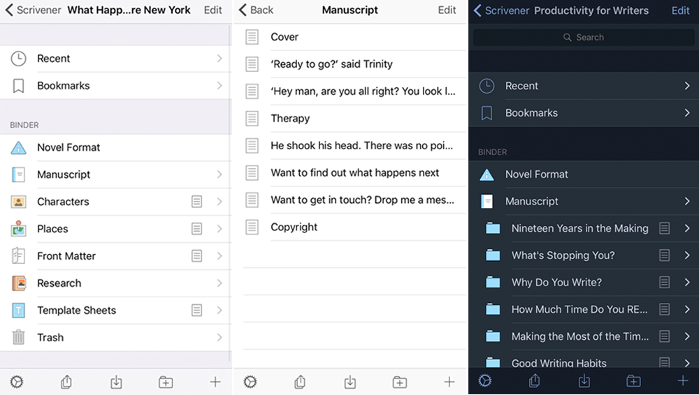 The mobile version of Scrivener is currently only available for iOS.
