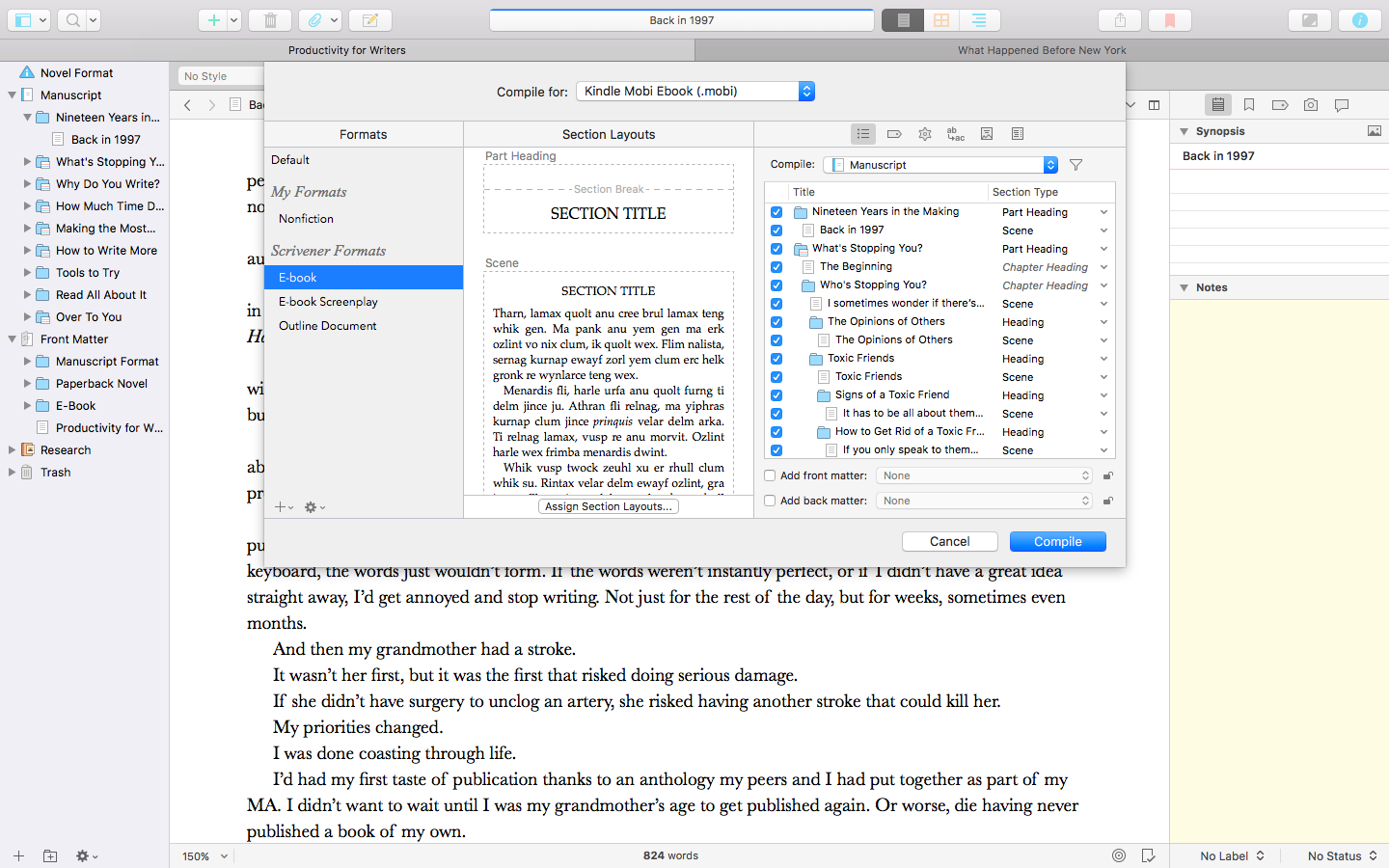 A look at Scrivener 3's new compile.