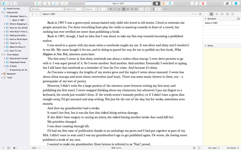 A look at Scrivener 3.
