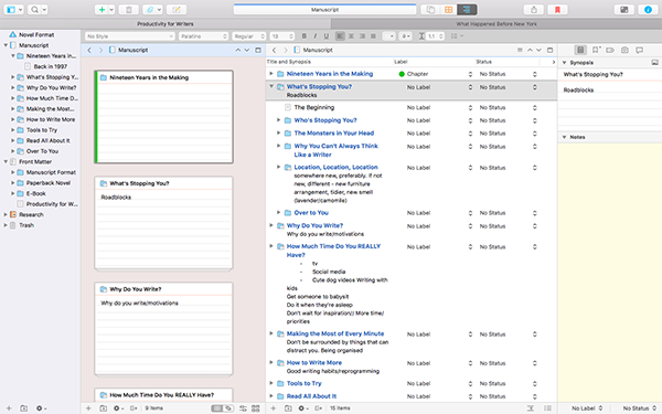 In Scrivener 3, you can split the screen up into up to four sections.