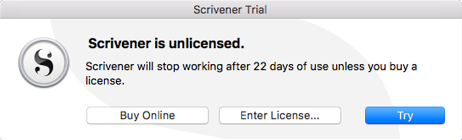 Scrivener 3 comes with a free trial that lasts 30 days of use, not 30 days of lasting on your hard drive.