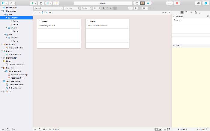 Scrivener's corkboard view is particularly useful if you use the Save the Cat method to plot your work in progress.