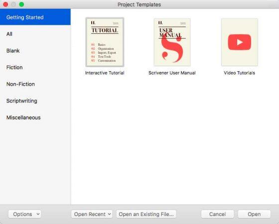 Scrivener's opening screen.