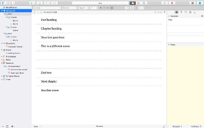 In Scrivener, you can view as much or as little of your work in progress as you need to.