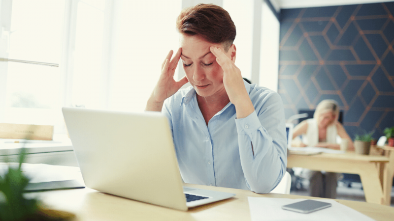 Woman who can't concentrate at computer