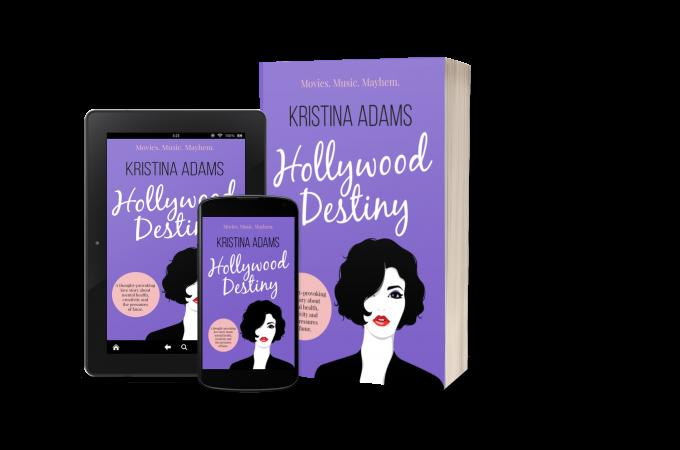 Hollywood Destiny mockups on an ereader, mobile phone, and paperback