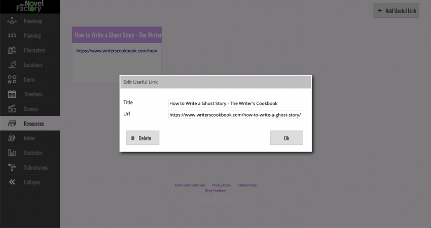 The Novel Factory add resources screen