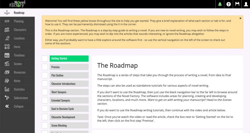 The Novel Factory roadmap
