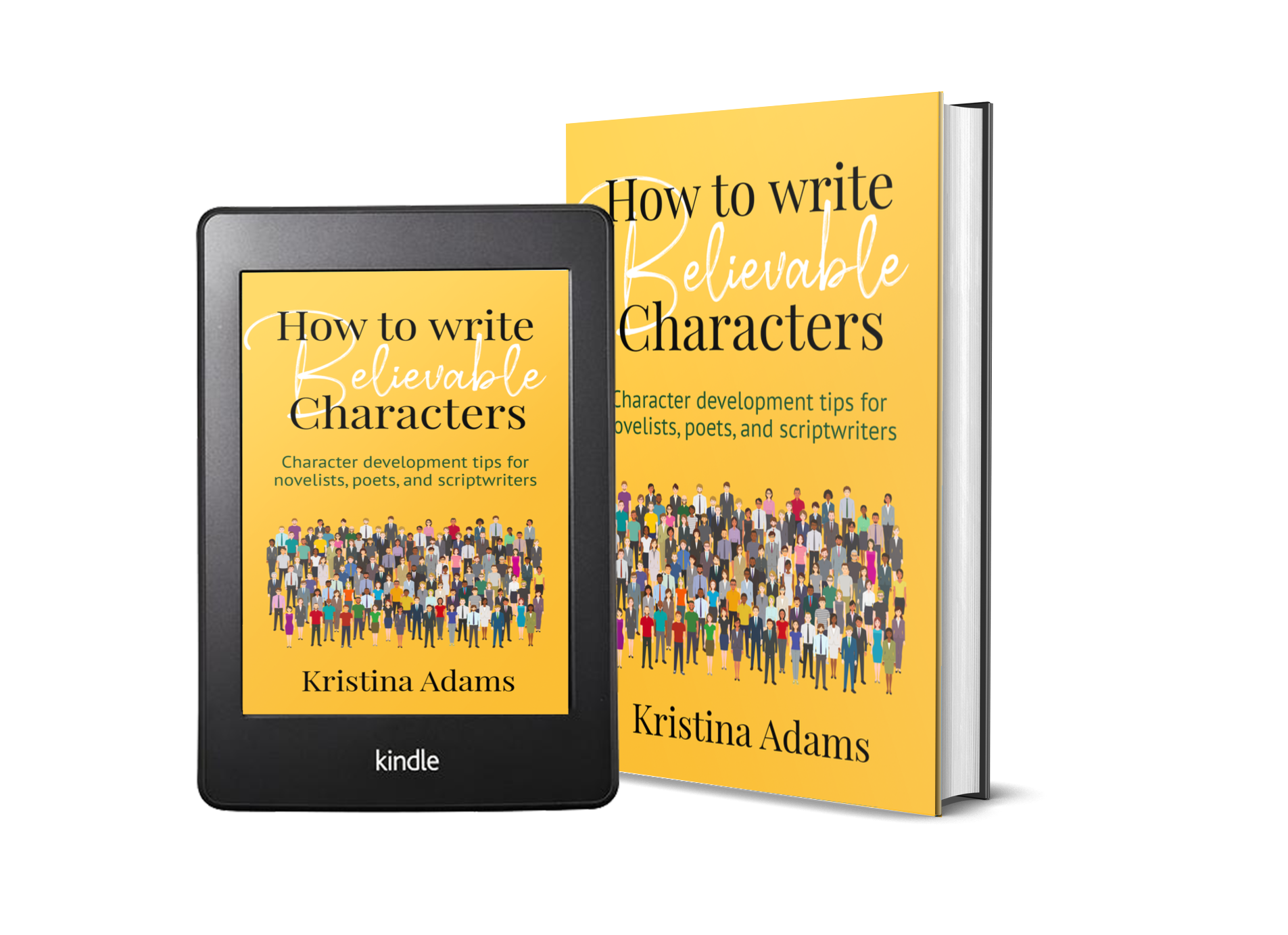How to Write Believable Characters ebook and print cover mockup